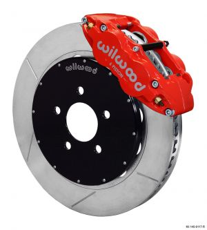 "Wilwood Forged Narrow Superlite 6R Big Brake Front Brake Kit (Hat) w/ 14"" Rotors (Red) (94-04 Mustang)"