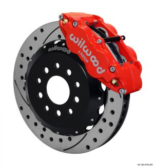 "Wilwood  Forged Narrow Superlite 6R Big Brake Front Brake Kit (Hat) w/ 14"" Rotors (05-14 Mustang) (Red)"